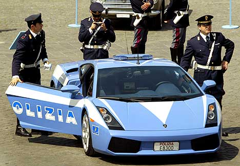 Italian police have style! :  lamborghini police italian style